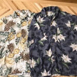 2 Island Shores Hawaiian Shirts Washable Silk